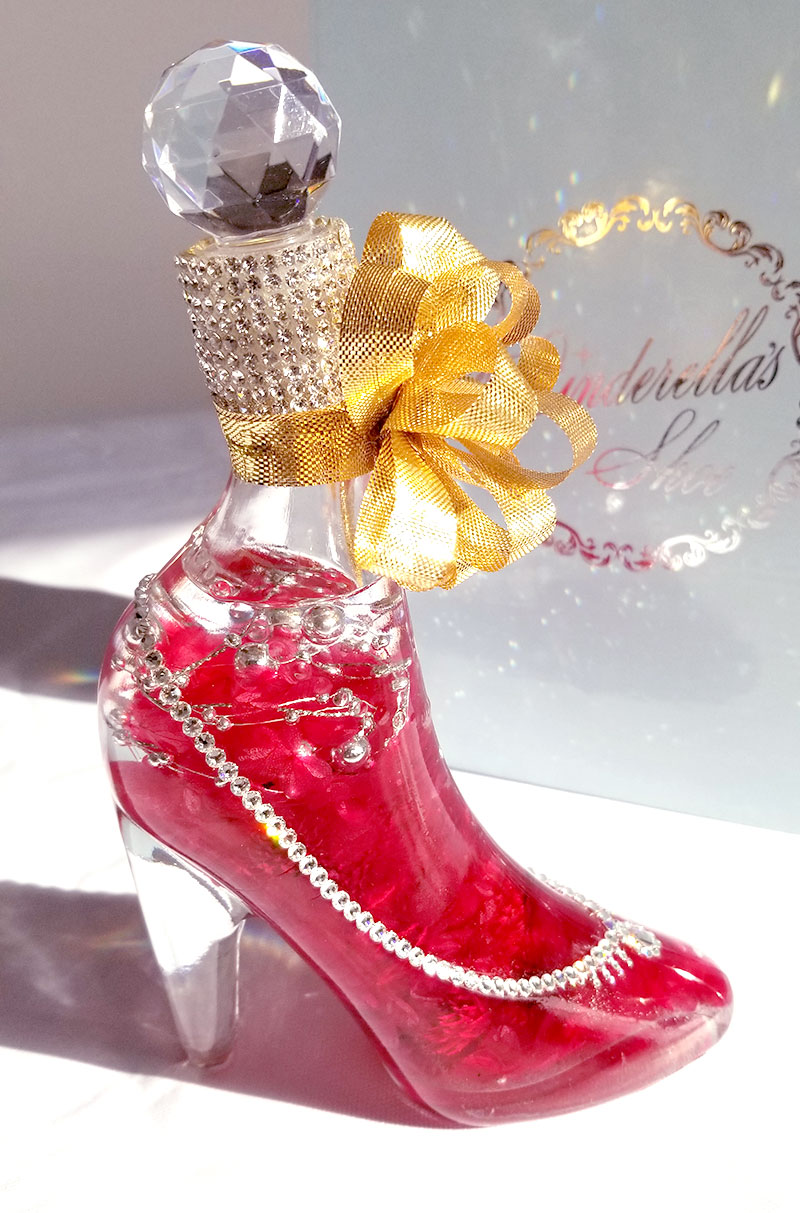 シンデレラのガラスの靴のハーバリウムをレビュー 右側面