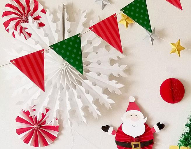 定番カラー!赤と緑のクリスマスガーランド