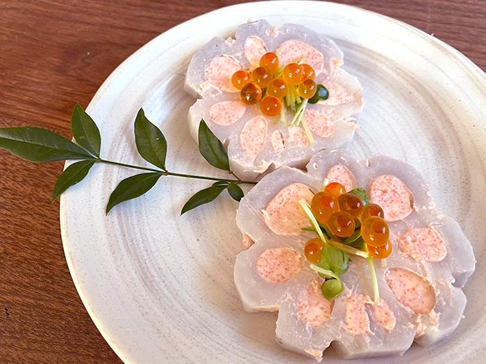 花蓮根の明太クリームチーズ 洋風おせち料理レシピ