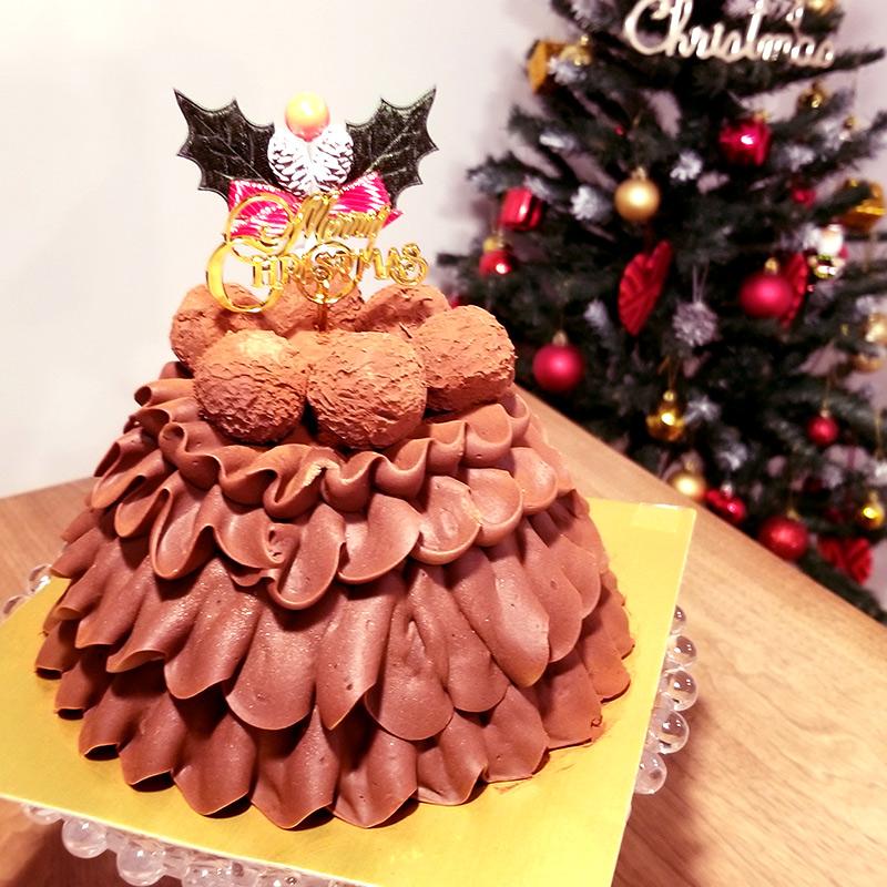 高島屋の通販クリスマスケーキで人気の「Les Sens ノエルド・ショコラ」解凍後
