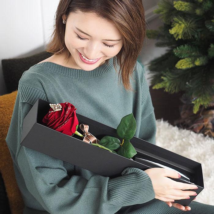 ずっと枯れない、世界に1本の赤いバラギフト「メッセージローズ人気No.1赤バラ(黒花瓶付き)」