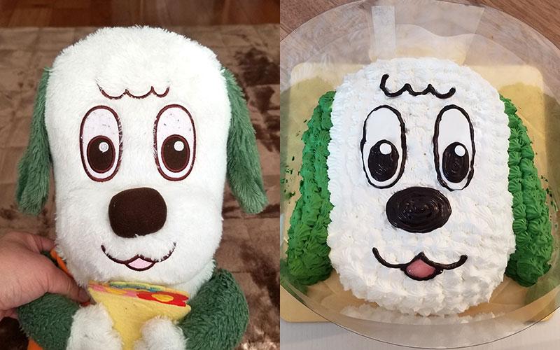 ワンワンケーキの参考画像と仕上がりイメージ