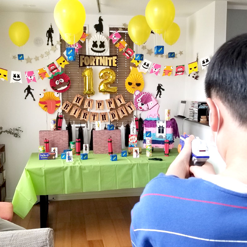 パーティーゲーム-3 射的  フォートナイトをテーマにした小学生男子の誕生日の飾り付け