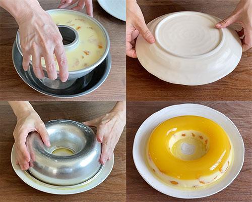お湯で型を温めながら、ひっくり返して外す。