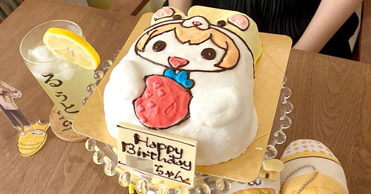 すとぷり・るぅとくん(あにまるぬいぐるみクッション)の立体キャラケーキで誕生日をお祝い!