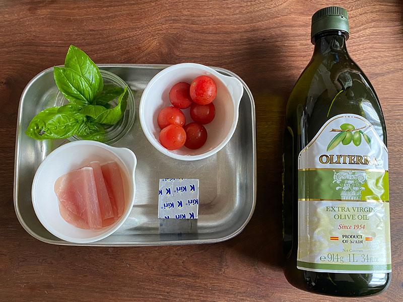 セミドライトマトと生ハム、クリームチーズのピンチョスの材料