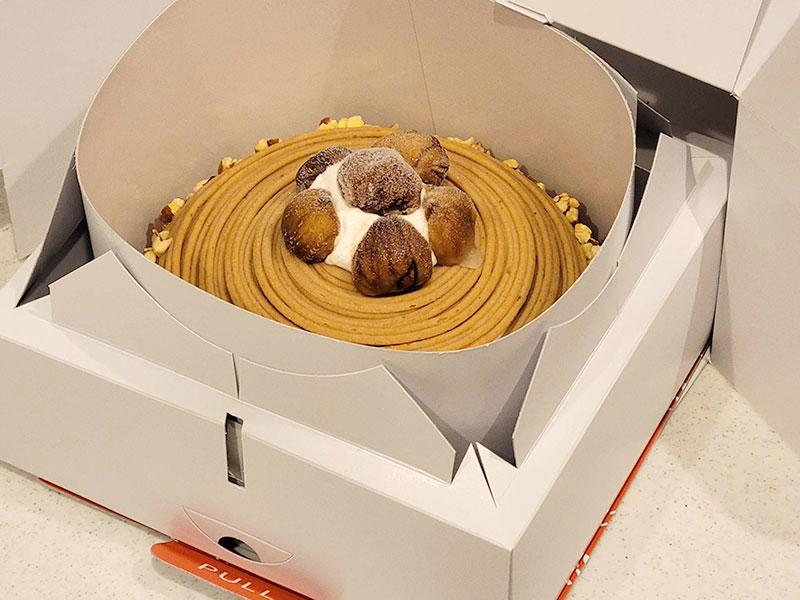 【イタリアントマト】イタリア栗のモンブランの届いたケーキの状態